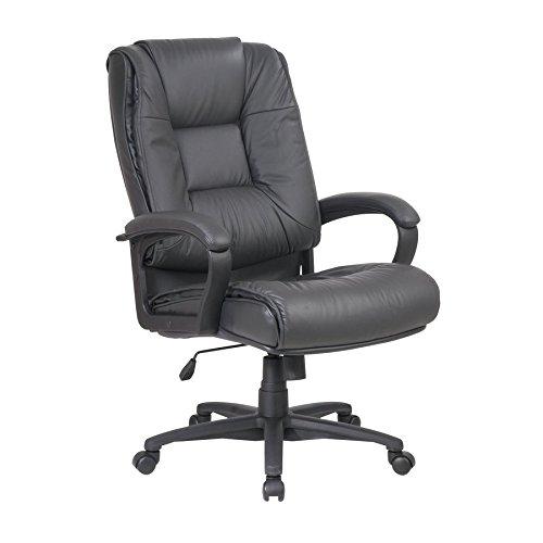 High Back Executive Glove - Office Star EX5162-G8 Deluxe High Back Executive Glove Soft Saddle Leather Chair Color: Dark Grey