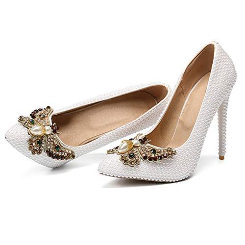 HRCxue Zapatos de la Corte Zapatos de de de Boda Puntiagudos Estilete Zapatos de Dama de Dama, Blanco, 39 1e1b46