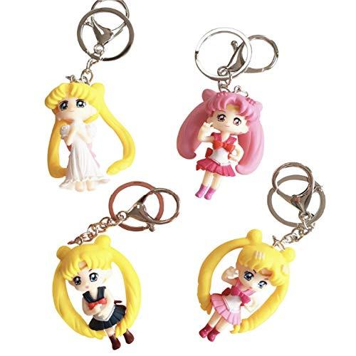 CheeseandU 4Packs Sailor Moon Keychains Cute Cartoon Anime Sailor Moon Figure Keyrings for Kids Girl Lady Women Birthday Gift Backpack Car Bag Purse Pendant