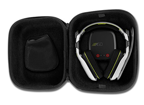 CASEMATIX Protective Gaming Headset Travel Case Bag  Fits ASTRO Gaming A50 , A40 TR , Halo A50 and Microphone with Wired or Wireless Headphones for PC Mac PS4 and XBOX