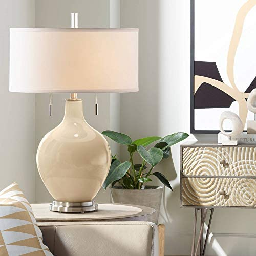 Toby Modern Table Lamp Colonial Tan Glass Gourd White Drum Shade for Living Room Family Bedroom Bedside Nightstand Office - Color + Plus
