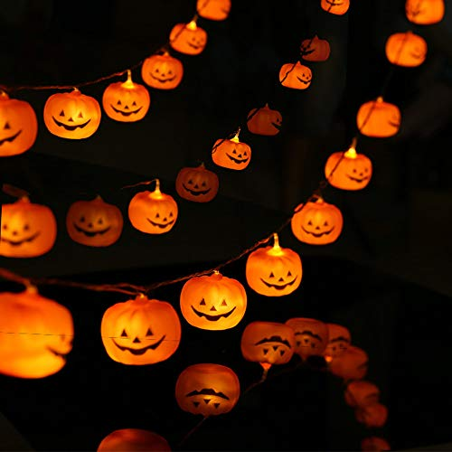 KAILEDI Halloween String Lights, LED Pumpkin Lights, Holiday Lights for Outdoor Decor,2 Modes Steady/Flickering Lights(20 One Pumpkin Lights, 9.8 ()