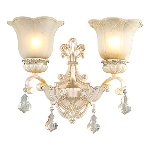 MMYNL Moderne E27 Antik Wandlampe Vintage Wandlampen Wandleuchten für Schlafzimmer Wohnzimmer Bar Flur Bad Küche Balkon Doppelscheinwerfer Tv Crystal Wandleuchte