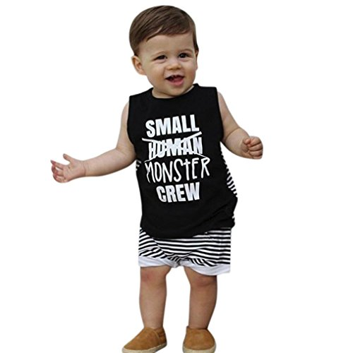 WARMSHOP 0-24 Months Summer Kids Clothes, 2 PC Toddler Boys Cotton Letter Print Sleeveless Tops Vest+Striped Shorts Outfits (18-24 Months, Black)