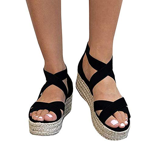 (Athlefit Women's Criss Cross Strap Platform Sandals Band Open Toe Ankle Buckle Espadrille Sandals Size 7.5 Black )