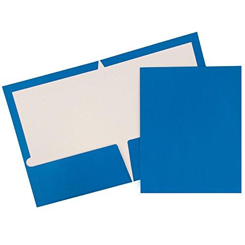 JAM PAPER Laminated Two Pocket Glossy Folders - Blue - Bulk 25/Pack