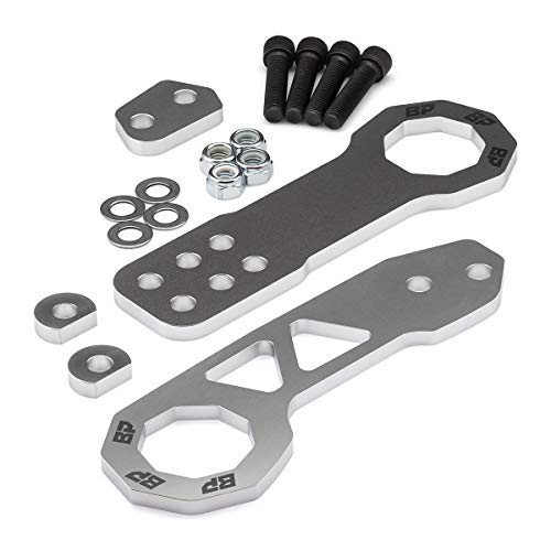 BlackPath - Fits Honda + Acura Front and Rear JDM Racing Style Tow Hook Set (Silver) T6 Billet ()