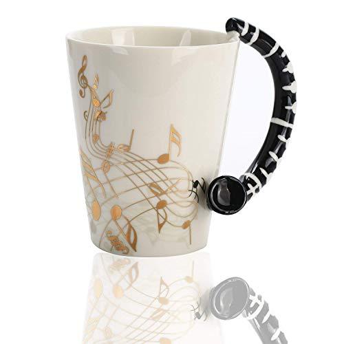 Novelty Clarinet Handle Music Mug Unique Art Musical Notes Holds Tea Coffee Milk Ceramic Mug Cup 12.9 oz Best Gift,Gold