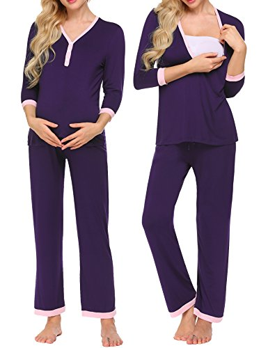 MAXMODA Ladies Maternity Shirt and Long Pants Pajamas Set Purple XXL (Gown Henley)