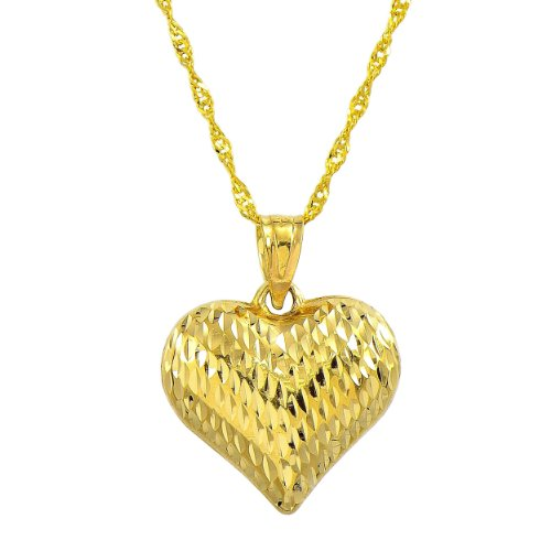(14K Yellow Gold Leaf Engraved Heart Pendant Necklace (20 Inches, Singapore Chain))