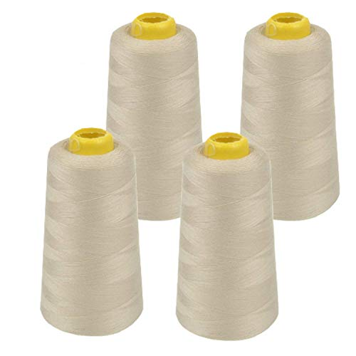 - 4 Pack of 6000 Yard Spools Beige Sewing Thread All Purpose 100% Spun Polyester Overlock Cone (Upholstery, Canvas, Drapery, Beading, Quilting)