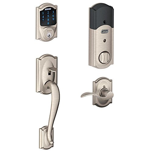Schlage Connect Camelot Touchscreen Deadbolt with Built-In Alarm and Handleset Grip with Accent Lever, Satin Nickel, FE469NX ACC 619 CAM RH, Works with - Locks Landlord