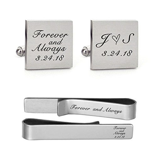 MUEEU Wedding Cufflink Engraved Forever & Always Custom Date Round Square Groom Tie Clip Tack (Groom Square Cufflinks and 1 Tie Clip)