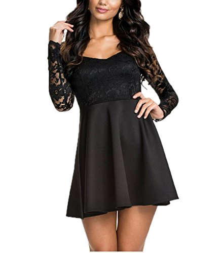 NuoReel Women's Lace Bodice Skater Dress Medium Size Black ()
