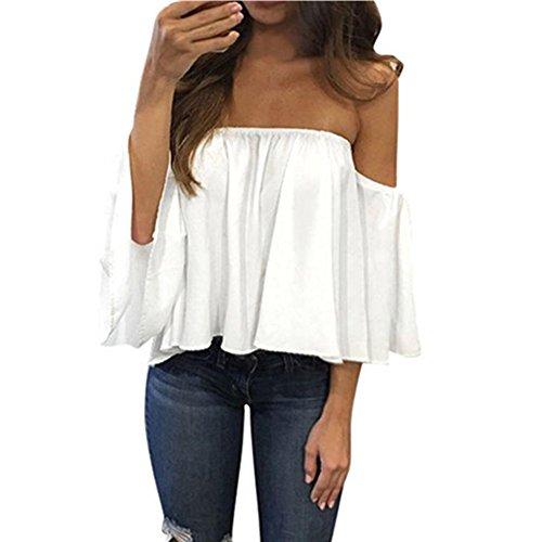 Lisingtool Womens Off Shoulder Stripe Casual Blouse Shirt Tops  L    White