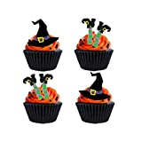 24 x Halloween Party Witch Mix Hat Legs STAND UP STANDUPS Fairy Muffin Cup Cake Toppers Decoration Edible Rice Wafer Paper