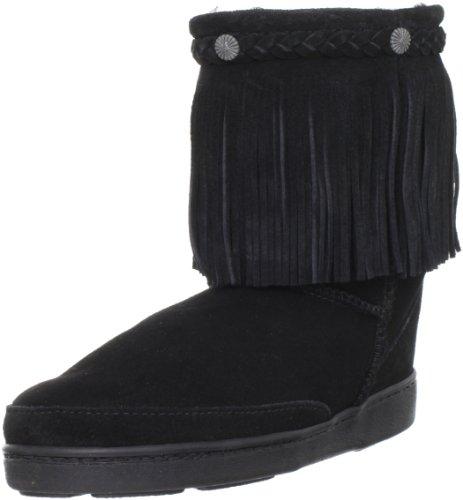 - Minnetonka Women's Sheepskin Fringe Low Pug Boot,Black,9 M US