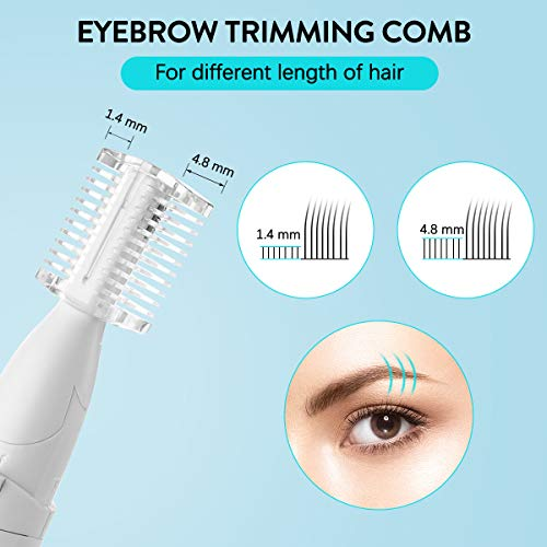 Eyebrow Razor Electric, Upgraded Eyebrow Trimmer, Liaboe Face Razors for Women, Eyebrow Hair Removal with Comb Eyebrow Epilator No Pulling Sensation Painless for Face Chin Lips Neck Bikini-line Armpit