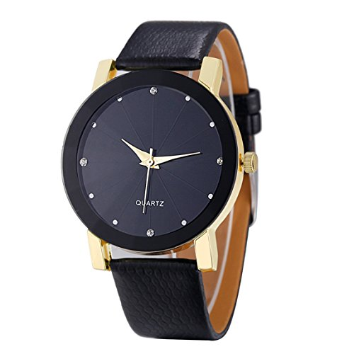 Watch Clearance ♥ Fashion Man Crystal Stainless Steel Analog Quartz Wrist Watch (Golden - Glasses Face For Choosing