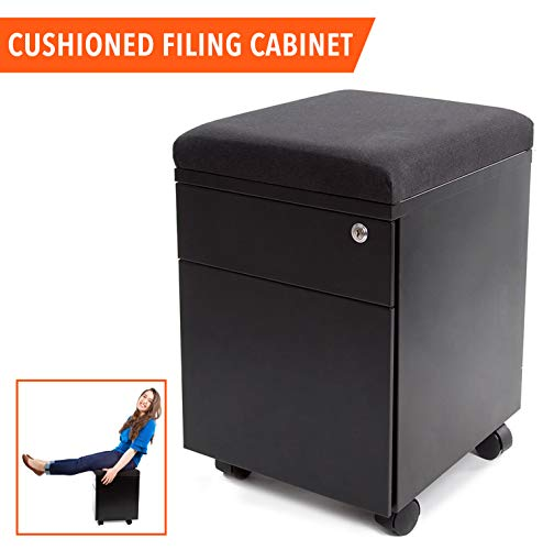 Stand Steady Rolling File Cabinet / 2 Drawer Mobile File Cabinet with Cushion Top | Small Filing Cabinet Delivers Convenient Storage, Key Lock, and an Extra Place to Sit! (Black)