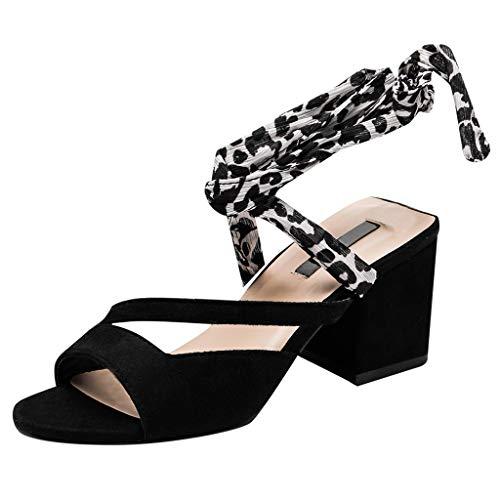 Square Heel Sandals for Women, FarJing Women's Round Head Fashion Lace-Up Sandals Single Shoes Elastic Belt High Heels Pumps(38,Black