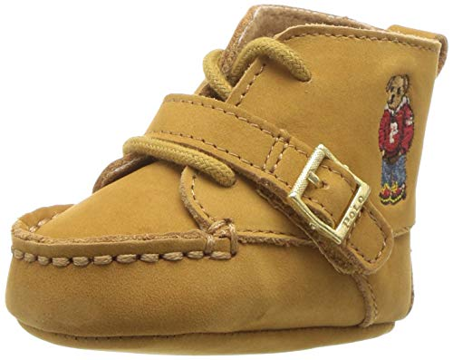 (Polo Ralph Lauren Kids Boys' Ranger HI First Walker Shoe Cashew Nubuck Hoodie Bear M020 M US Infant)