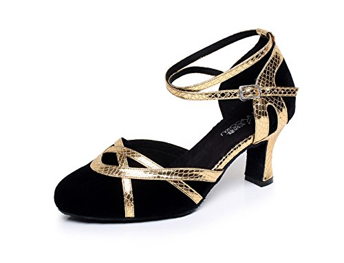 JSHOE Zapatos De Baile Para Mujeres Latinos / Chacha / Samba / Moderno / Jazz Dance Shoes,Gold-heeled7cm-UK6.5/EU40/Our41