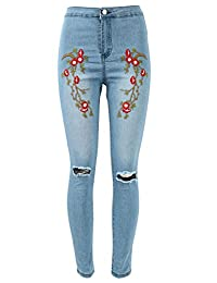 Ladies Floral Embroidered Skinny High Waist Ripped Jeans CA Size 2-12
