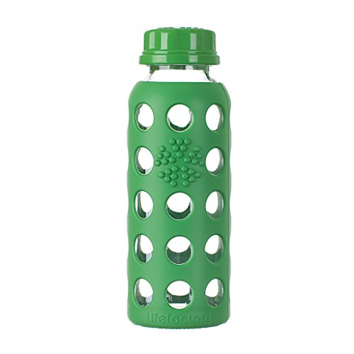 Lifefactory 9-Ounce BPA-Free Glass Water Bottle with Flat Cap and Silicone Sleeve, Grass Green