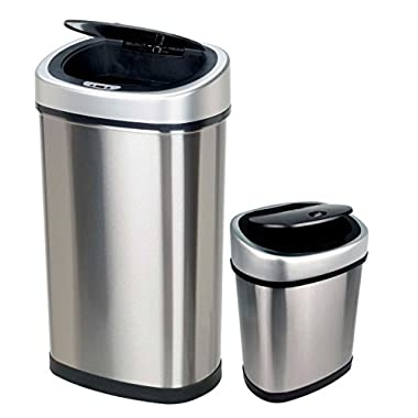 Nine Stars CB-DZT-50-9/12-9 Stainless Steel 2-in-1 Infrared Touchless Automatic Motion Sensor Lid Open Trash cans Combo, 13.2/3.2 gallon