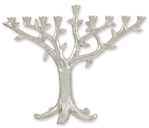 Chrome Plated Tree of Life Hanukkah Menorah