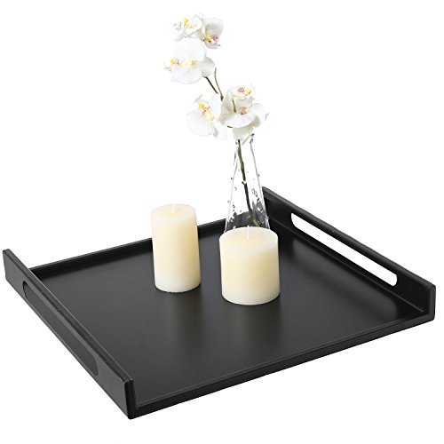 Modern Square Matte Black Metal Serving Tray with Curved Cutout Handles