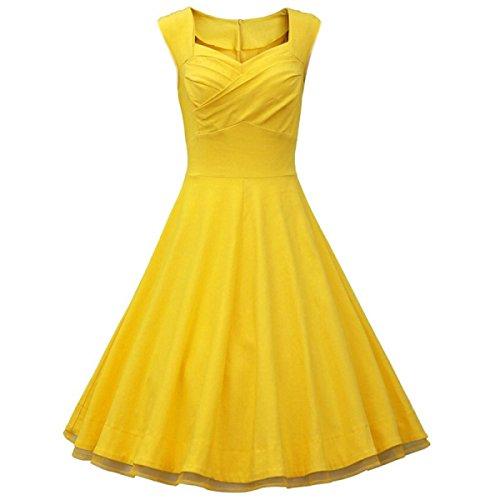 Mujer. Delgado Sin Mangas Retro Imprimir Vestido De Oscilación Grande Yellow