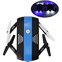 RC Drone Wifi FPV Quadcopter ,6-Axis Gyro 2.4G Altitude Hold HD Camera Selfie Foldable Helicopter with LED light, [Easy to Fly for Beginner] (Black)
