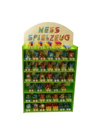 Display für Buchstabenzug, je 3 Buchstaben und Zahlen, je 9 Lok und Waggon Ohne Inhalt Maße ca 180x140x120mm NEU Holzzug Eisenbahn