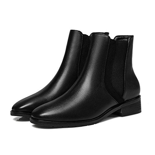 Classique Bloc Botte Bout Boots Demi Chelsea Hiver Femmes Suédé Pointu 38 Microfibre Basse Inconnu Automne Noir nxg7Owx8