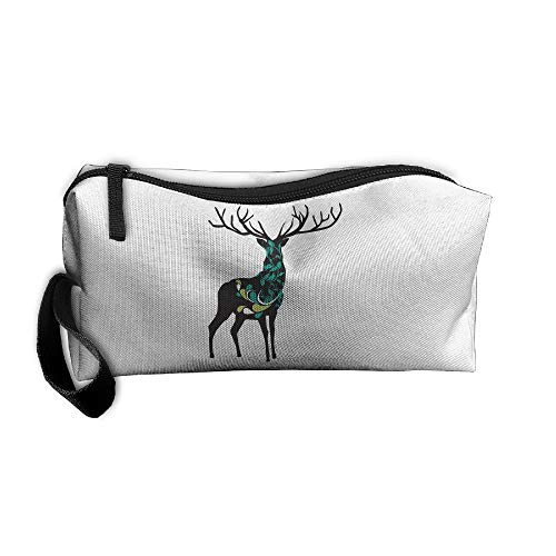 Cosmetic Bags With Zipper Makeup Bag Deer Middle Wallet Hangbag Wristlet Holder -