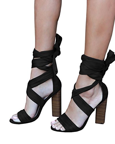 Faux Suede Wrap (Yobecho Womens Lace Up Heels Faux Suede Wrap Chunky Block Heeled Sandals)