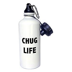 3dRose wb_224565_1 Chug Life Sports Water Bottle, 21 oz, White
