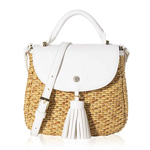 (The Lovely Tote Co. Women's Straw Crossbody Bag Woven Cross Body Bag Shoulder Top Handle Satchel, Ivory)