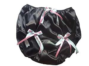 XL HDBN845 BLACK Handmade Bow Underwear Satin Women Ladies briefs Lace
