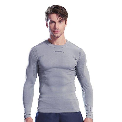 オンキルト出口コンプレッションウェア メンズ CAMEL CROWN 加圧インナー 加圧シャツ 冷感 長袖 丸首 UVカット 吸汗速乾 姿勢補正 メタボ対策 防菌防臭 通気性 よく締め付け オールシーズン