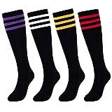 KONY Women's 4 Pairs Casual Knee High Socks Soft
