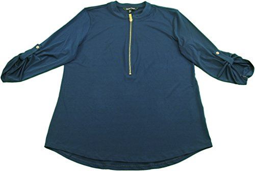 Ellen Tracy Ladies Half Zip Blouse (Small, Navy)