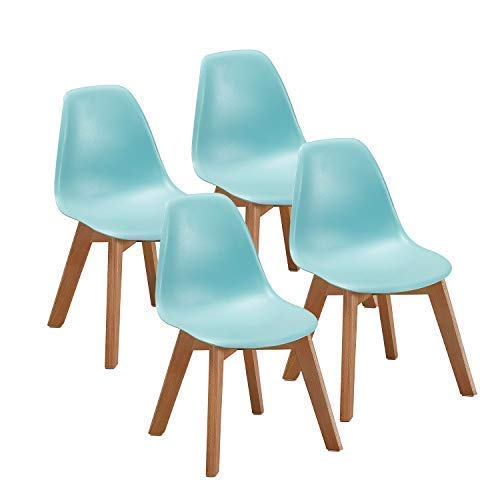 VECELO Kids Size Side Dining Room (Set of 4) Natural Wooden Legs Armless Chairs Standard Blue