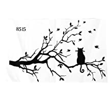 SODIAL(R) Newly designed Cat On Long Tree Branch DIY Vinyl Wall Sticker Animals Birds Wall Decal Art Transfers Window Sticker Home D¨¦cor-38*58cm
