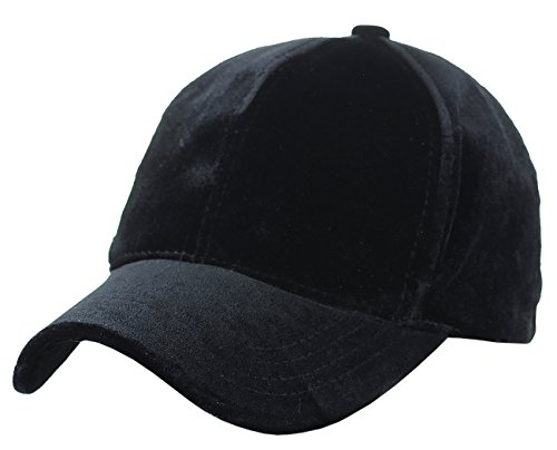 C.C Unisex Soft Velvet Crushable Blank Adjustable Baseball Cap Hat, Black