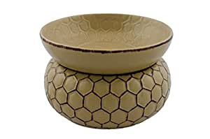 Honeycomb 2 in 1 Electric Ceramic Stoneware Tart, Jar Candle and Oil Warmer