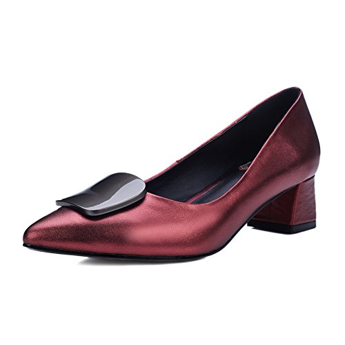 Metallo Pu Talloni Pompe Donne Balamasa Scollati Grosso Bordeaux Ornamento Tomaie calzature xF0gwqPB
