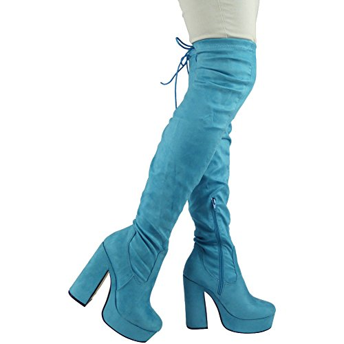 Thigh High Heel High Ladies Size The Boots 3 8 Platform Lace Blue Over Knee Td5wqH